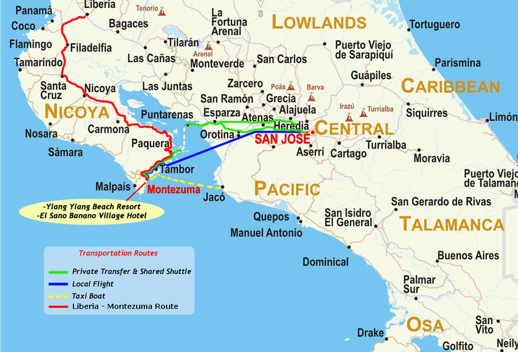 Map Of Costa Rica With Transportation Routes To Montezuma